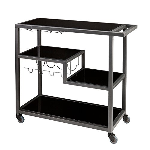 SEI Furniture Zephs Metal and Tempered Glass Locking Castor Wheels Bar Cart, Gunmetal/Black
