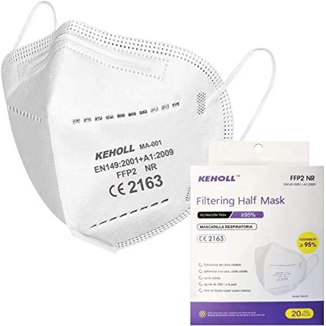 Keholl Máscaras FFP2 Certificación CE 5 Capas Máscara Ffp2 Filtros 95% a...