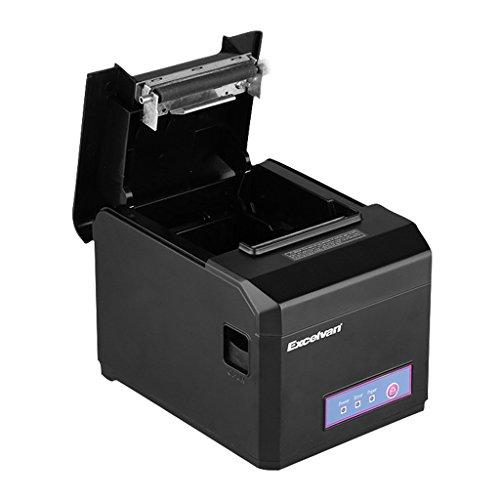 Imprimante Thermique de Reçu 300mm s 80mm EXCELVAN Auto-Cut USB COM Internet(100M) Ethernet Port série Andriod&iOS Windows&Linux Support Noir