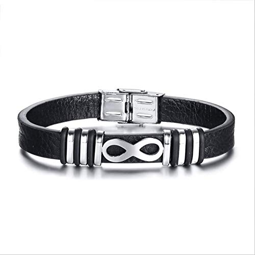 KAUTO Genuine Leather Bracelet Stainless Steel Magnetic Buckle Black Wrist Cuff Bangle,Gifts for Family