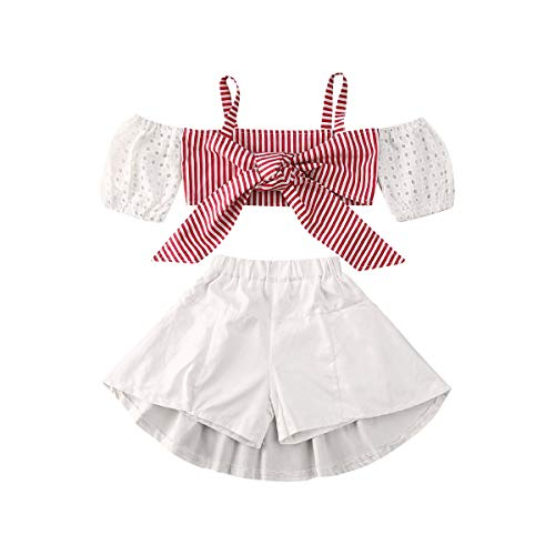 Conjunto de roupas infantis de verão de manga curta para bebês e meninas, Branco, 3-4 anos