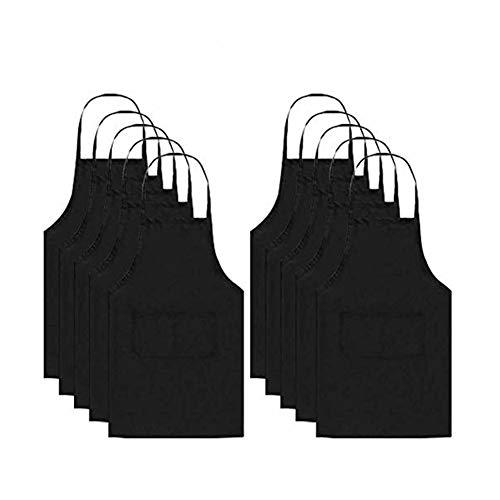 Weanty Lot de 10 Tablier de chef Tablier de bavoir avec 2 poches Cuisine Tabliers de cuisine pour la cuisine à domicile Restaurant Café Maison Hommes Femmes Noir