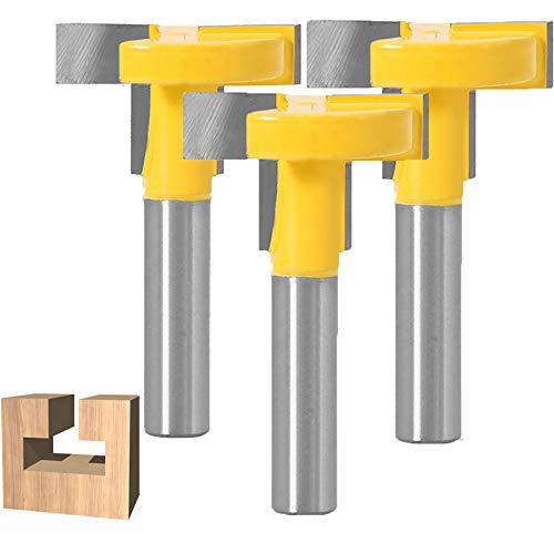WSOOX 3 Stücke T-Nutfräser T-slot & T-Track Slotting Fräser Router Bit Set mit 8mm Schaft