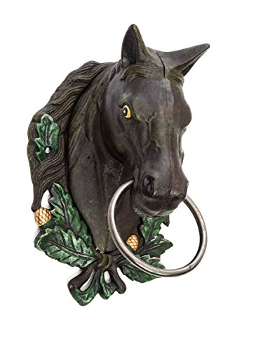 aubaho Porte-Serviettes de Cheval Brun de Fer Porte-Serviette Horsehead