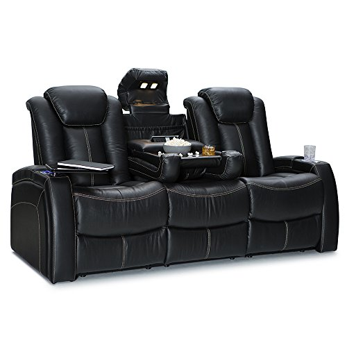 Seatcraft Republic Home Theater Seating - Top Grain Leather - Power Recline - Power Headrest - Center Fold Down Table - Cupholders - AC, USB, Wireless Charging - in Arm Storage (Sofa, Black)
