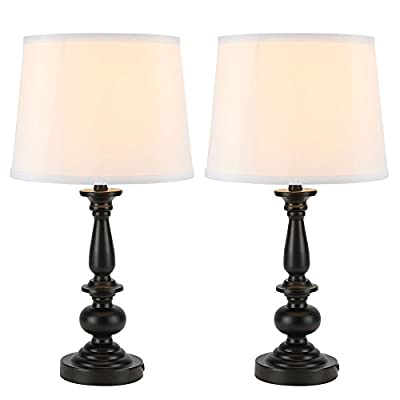 Set of Turned Black Night Stand Lamps