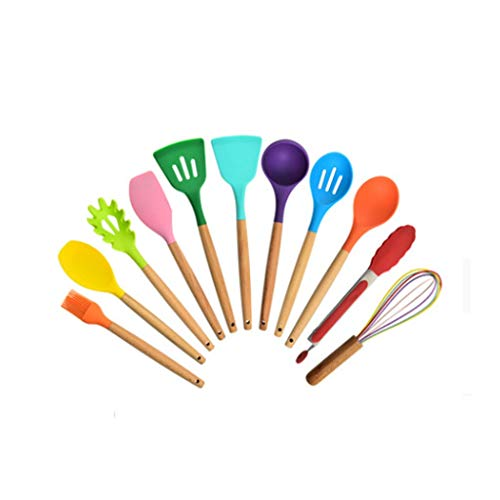 treqa GYDCJ Beech Wood Handle Color Silicone Kitchen Utensils 12 Piece Set Silicone Cooking Spatula Spoon Kitchen Set Utensils