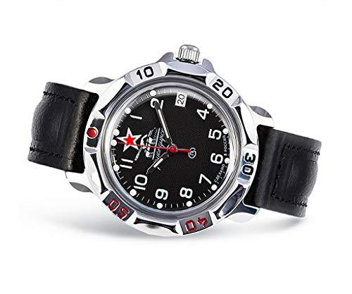 VOSTOK Armbanduhr mechanisch, Komandirskie russische Uhr, Panzer, Roter Stern, 2414/811306, UDSSR, Russland, Militär, Sowjet Union, Kalender, schwarz