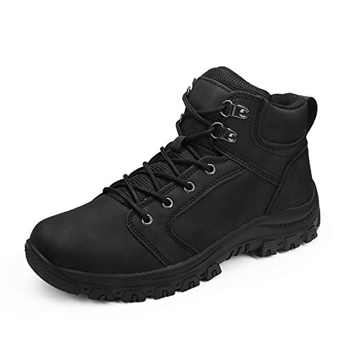 IceUnicorn Herren Winterschuhe Warm Schneestiefel Gefüttert Outdoor rutschfeste Stiefel Arbeitsstiefel Knöchel Stiefel Wasserdicht Wandern Boots(DH.Schwarz, 46EU)