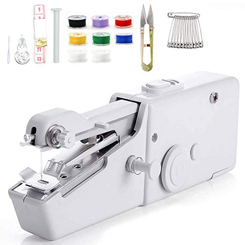 Hyhome machine à coudre main électrique Mini Machine à Coudre Portable 18 petits outils ménagers électriques à coudre sans fil à la main pour les tissus, les vêtements