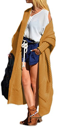 Damen Strickjacke Pullover Cardigan Langarm Oversize Frühling Cardigan 36 38 40 S M L (658) (Curry)
