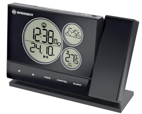 Bresser Wetterstation Funk mit Außensensor BF-PRO mit rundlichen Displayelementen, 24-Std. Wettertrend, Außensensor, Temperaturanzeige, Datum und DCF-Funksignal und Projektor, schwarz