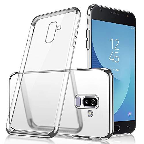 QPOLLY Kompatibel mit Samsung Galaxy J8 2018 Hülle Glänzend Kristall klar Silikon TPU Schutzhülle Überzug TPU Durchsichtig Handy Tasche Ultra Dünn Soft Silikon Handyhülle Case,Silber
