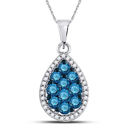 Colgante de oro blanco de 10 quilates para mujer, redondo, color azul, con forma de lágrima de diamante mejorado, 3/4 quilates