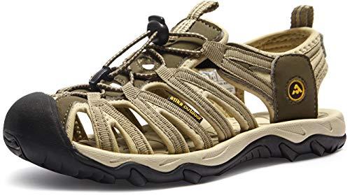 ATIKA Sandali da donna atletici da escursionismo con punta chiusa, leggeri, adatti per camminata, trailing, trekking, scarpe da acqua in estate, Beige (W249, confezione da 1 kaki), 38 EU