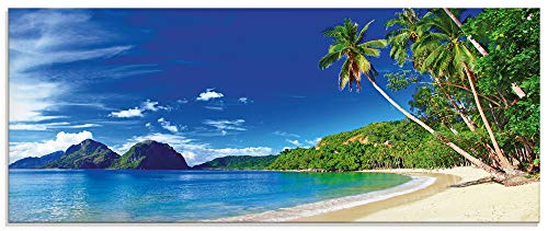 Artland Glasbilder Wandbild Glas Bild einteilig 125x50 cm Querformat Karibik Strand Südsee Palmen Sand Insel Himmel Natur Sommer Urlaub S9HV