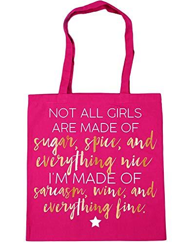 WENNUNA Niet alle meisjes zijn gemaakt van suiker, kruiden en alles mooi. Ik ben gemaakt van Sarcasme, wijn en alles in orde. Tote Shopping Gym Beach Tas