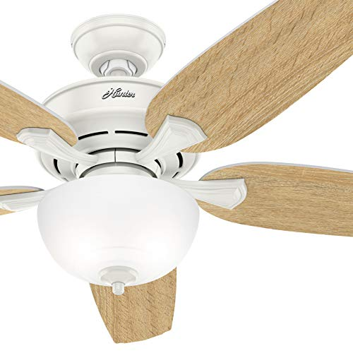 Hunter Fan 54 inch Casual Fresh White Indoor Ceiling Fan with Light Kit (Renewed)