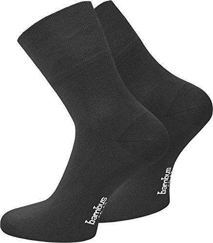 normani 6 Paar Bambus/Socken/Kurzschaft Strümpfe mit Piquébund seidenweich Farbe Schwarz Größe 43/46