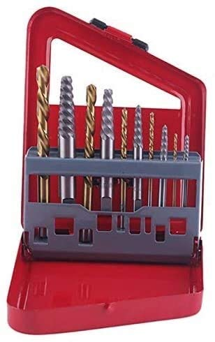 Household Tool kit Home DIY Tool Set Screw Extractor and Hardware Tool kit Left Hand Drill Bit Set Broken Bolt Remover, 10 Piece Alloy Extractors Drill Bits Drill