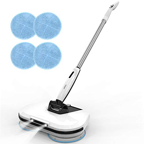 AIPER Cordless Electric Mop, Electric Spinwave Mop with LED Headlight and Sprayer, Spin Scrubber and Powerful Floor Cleaner, Polisher for Hardwood Floor, Tile Floors, Quiet Cleaning & Waxing
