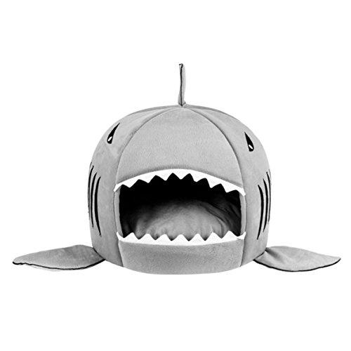 Rouku Einzigartiges Haifischmaul geformtes Haustier-Hundebett Weiches warmes Plüsch-Hundehaus Wasserdichtes Haustier-Nest Hund warmes Nest für Katzenwelpen-Haustierbedarf