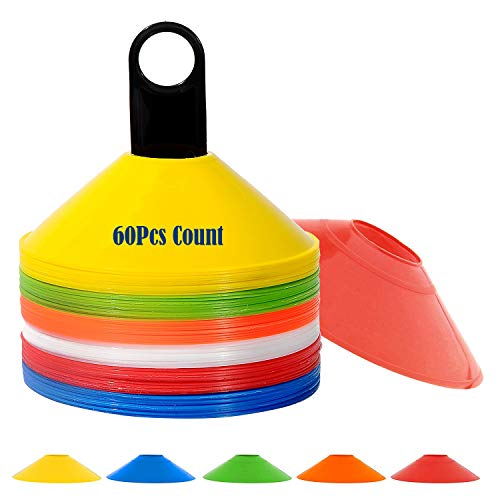 Wrzbest Set of 60 Training Marker Multi Color Soccer Cones Football Disc Cone with Plastic Holder - Perfect for Hockey,Roller Skating, Any Ball Game to Mark - Disc Mini Training Cones - Field Markers