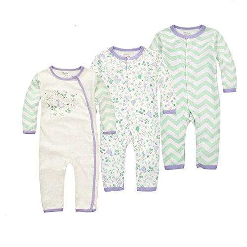 CuteOn pack 3 Bébés Garçons Filles enfants Manches longues Bodysuit Pyjama Toddlers Nightwear Birdy&Waves 24 Mois