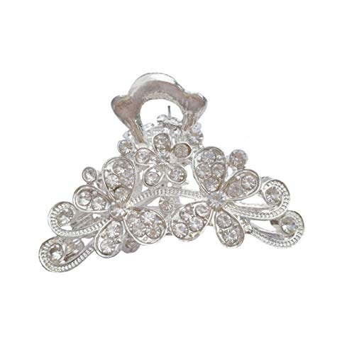 Numblartd Vintage Silver Alloy Chic Fancy Hair Claw Jaw Clips Pins with White Rhinestone - Women Fashion Retro Hair Catch Hair Updo Grip Hair Accessories