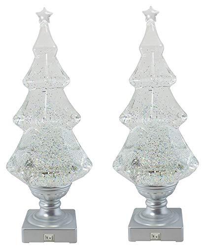 Grasslands Road Light-up Glitter Christmas Tree (Pack of 2 White)