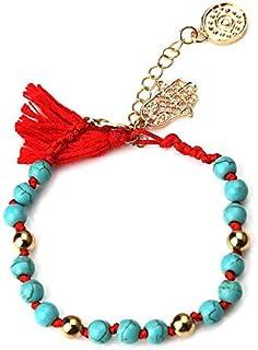Borla De Cinta De Estilo Vintage con Cuentas De Piedra Azul Roja con Pulsera De Cuentas De Encanto De Mal De Ojo Hamsa