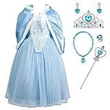 YOSICIL Elsa Disfraz de Frozen con Capa Niñas Disfraces de Princesa Costume Trajes para Halloween Navidad Vestido de Fiesta Azul Regalo de Cumpleanos