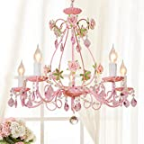 The Original 5 Light Pink Gypsy Chandelier H20.5' W 23.6', Pink Metal Frame with Light Pink Acrylic Crystals Girls Room Bedroom