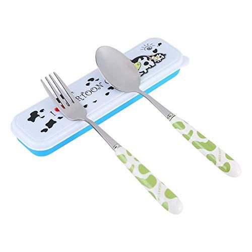 Cubertería infantil, tenedor de cuchara de acero inoxidable con estuche de almacenamiento portátil para viajes de guardería escolar(Rosado) 20.5x 5.5x 2.5 cm