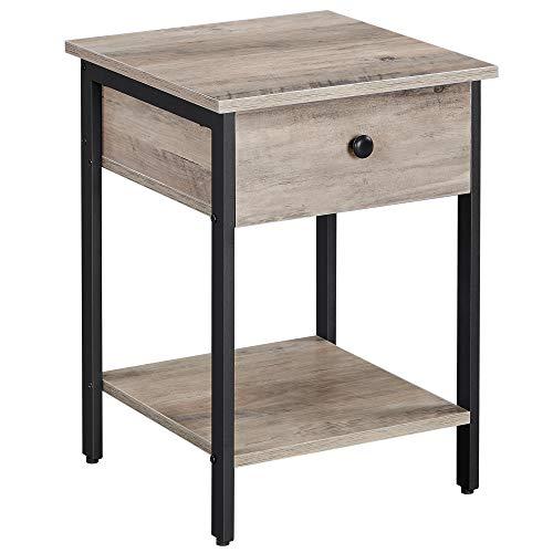 VASAGLE Nachttisch, Nachtkommode, Beistelltisch mit Schublade und Ablage, Nachtschrank, Schlafzimmer, Wohnzimmer, einfacher Aufbau, Industrie-Design, greige-schwarz LET055B02