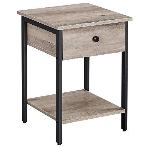 VASAGLE Nightstand, End Table, Side Table with Drawer and Shelf, Bedroom, Easy Assembly, Steel, Industrial Design, Greige and Black ULET055B02