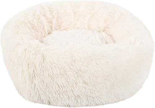 WENYAO Largo Felpa Suave Mascota Cama para Perros Gris Redondo Gato Invierno cálido Camas para Dormir Bolsa Cachorro Perro Gatos cojín Estera portátil Mascotas Suministros, Blanco, 70x20 cm, Austra