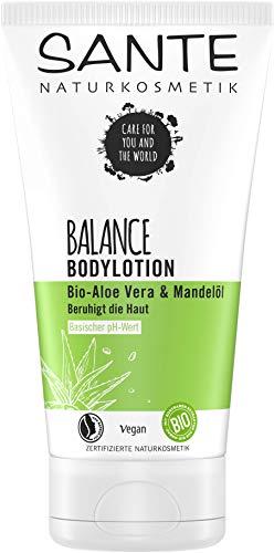 SANTE Naturkosmetik BALANCE Bodylotion, mit Bio-Aloe Vera & Mandelöl, Pflege für trockene und beanspruchte Haut, natürlich frisch, vegan, 150 ml