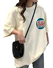 [タイムスリップ] レディース Tシャツ シャツ ゆったり ビックシルエット ロング ロゴ プリント オーバーサイズ 七分袖