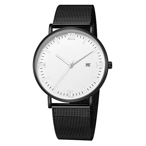 Darringls_Reloj,Reloj de Acero Inoxidable Negro Clásico de Lujo Calendario de Moda Clásico Diseñador Analógico Cuarzo Fecha de Negocios