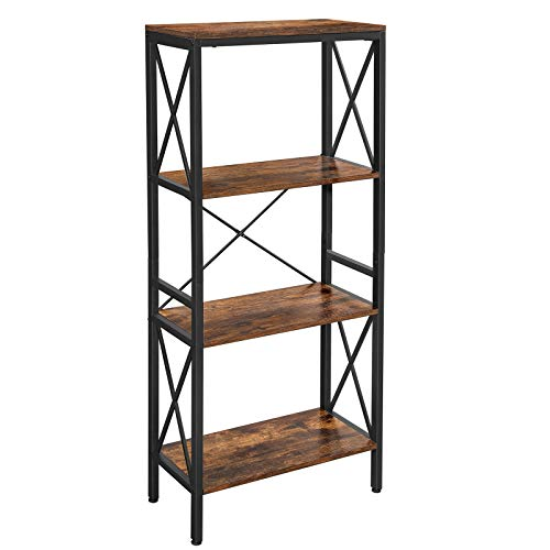 VASAGLE 4 Tier Bookshelf, Bookcase, Kitchen Shelf, Free Standing Shelf, Ladder Rack with 4 Open Shelves, for Kitchen, Office, Stable Steel Frame, Industrial Style, Rustic Brown and Black ULLS030B01