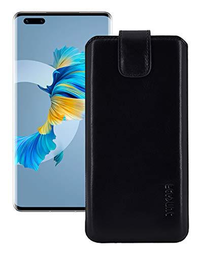 Suncase Echt Ledertasche kompatibel mit Huawei Mate 40 Pro Tasche *Slim-Edition* Leder Etui (mit Rückzugsfunktion & Magnetverschluss) in schwarz