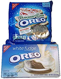Variety Pack - Limited Edition Oreo Christmas Holiday Cookies - White Fudge Covered Oreo 8.5 oz, Peppermint Bark Oreo 10.7 oz