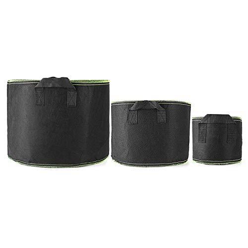 Sacos para plantas, bolsa para cultivo de plantas, bolsa para cultivo de contenedores de tela no tejida, para ventilación bolsas para plantas (tamaño: 30 mm; color: negro + verde)