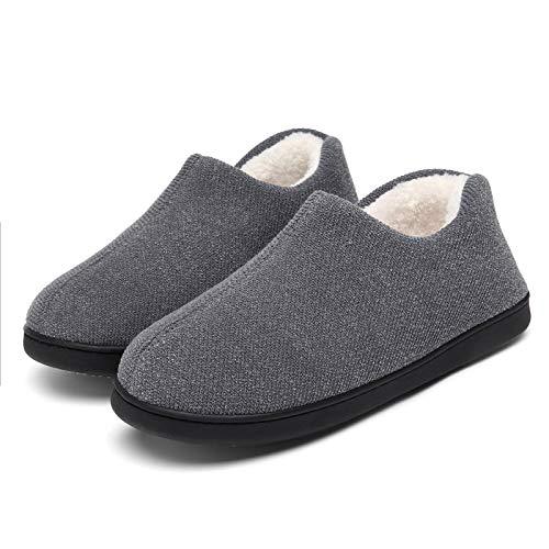 Mishansha Men's Cozy Lightweight House Slipper, Memory Foam Indoor Outdoor Slippers with Fuzzy Fleece Lining & Anti-Slip Rubber Sole Grey