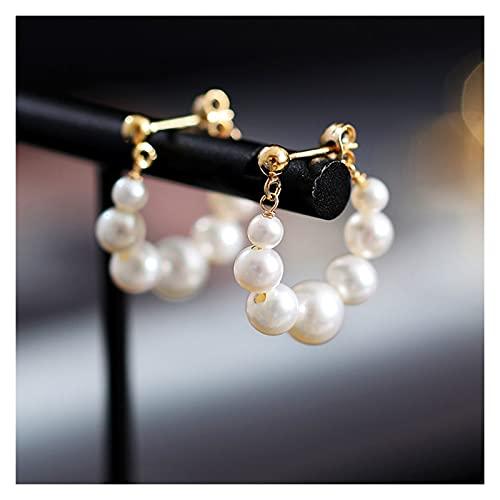 WENMENG2021 Pendientes de Diamantes Pendientes chapados en Oro de 14k Pendientes de Perlas de Agua Dulce Pendientes de Plata esterlina Pendientes de Gota de Perlas para Mujeres Pendientes Colgantes