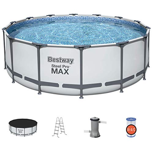 Bestway 5613HE Steel Pro MAX 14 x 4 Foot Outdoor Frame Above Ground Round Swimming Pool Set with Ladder, Cover, and Filter Pump