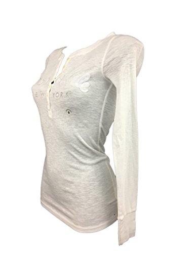 Aeropostal - Camiseta de manga larga para mujer blanco M