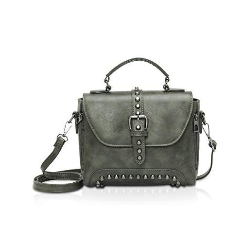 NICOLE & DORIS Kleine Handtaschen für Damen über der Schulter Henkeltaschen Nieten kleine Umhängetaschen für Damen Dunkelgrün