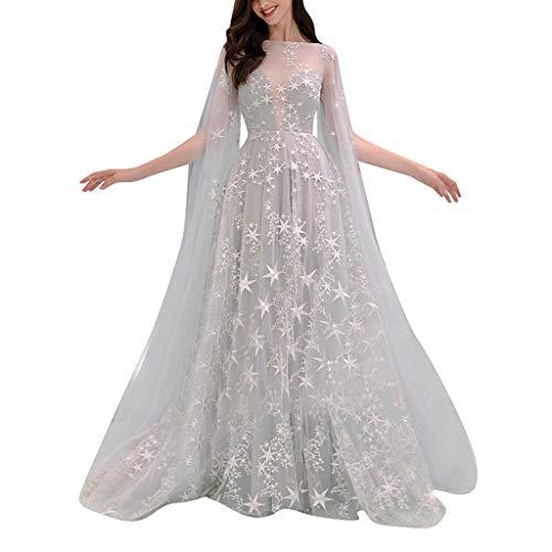 GreatestPAK Damen Schulterfrei Cocktailkleid Abendkleid Brautkleid Perspektive Sternendruck Langes Maxikleid,Weiß,S